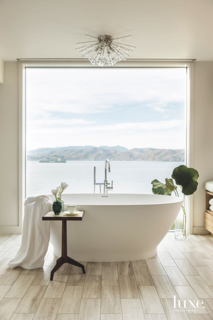 Freestanding Soaking Tub Master Bathroom with Pacific Water Views ...