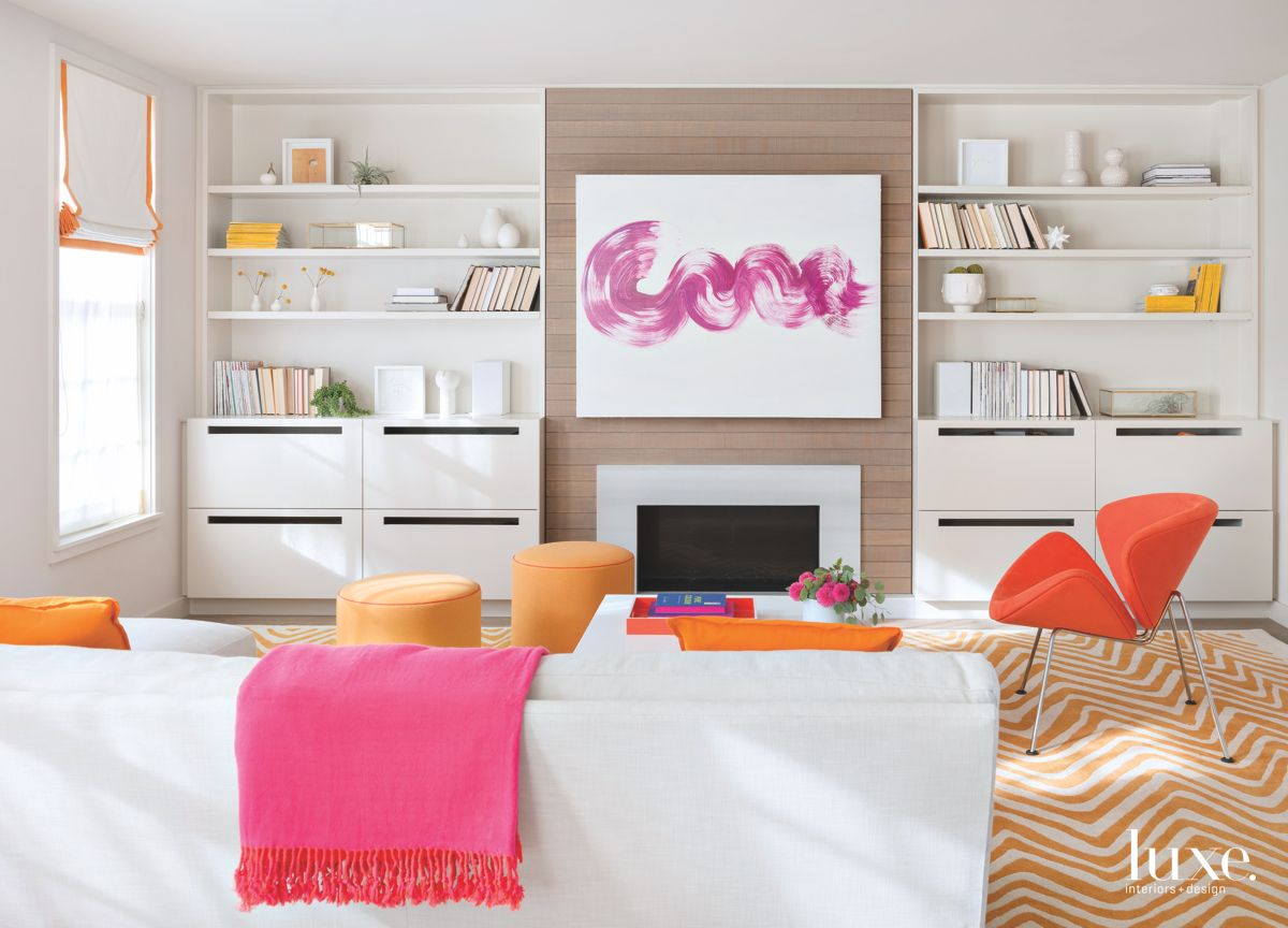 Pink Swirl Abstract Artwork with Zig Zag Carpet and Bookshelves
