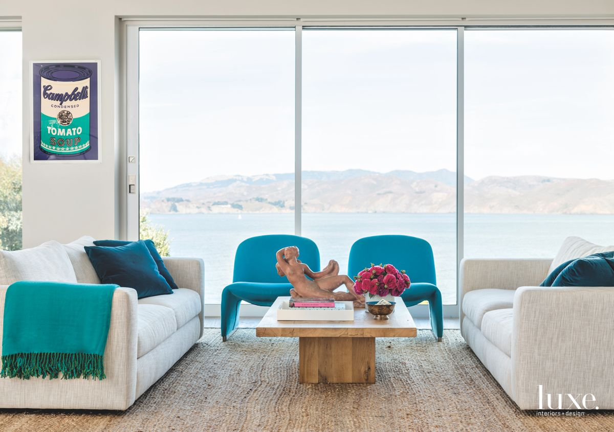 Campbells Tomato Soup Living Room with Blue Furniture and Ocean Views