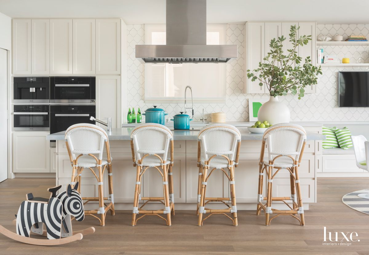 Zebra White Kitchen with Black Appliances with Four Island Bar Stools