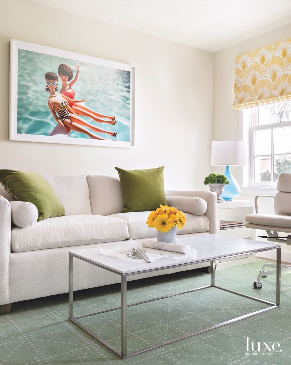 Barbie Artwork Living Room with Yellow Curtains and Green Pillows