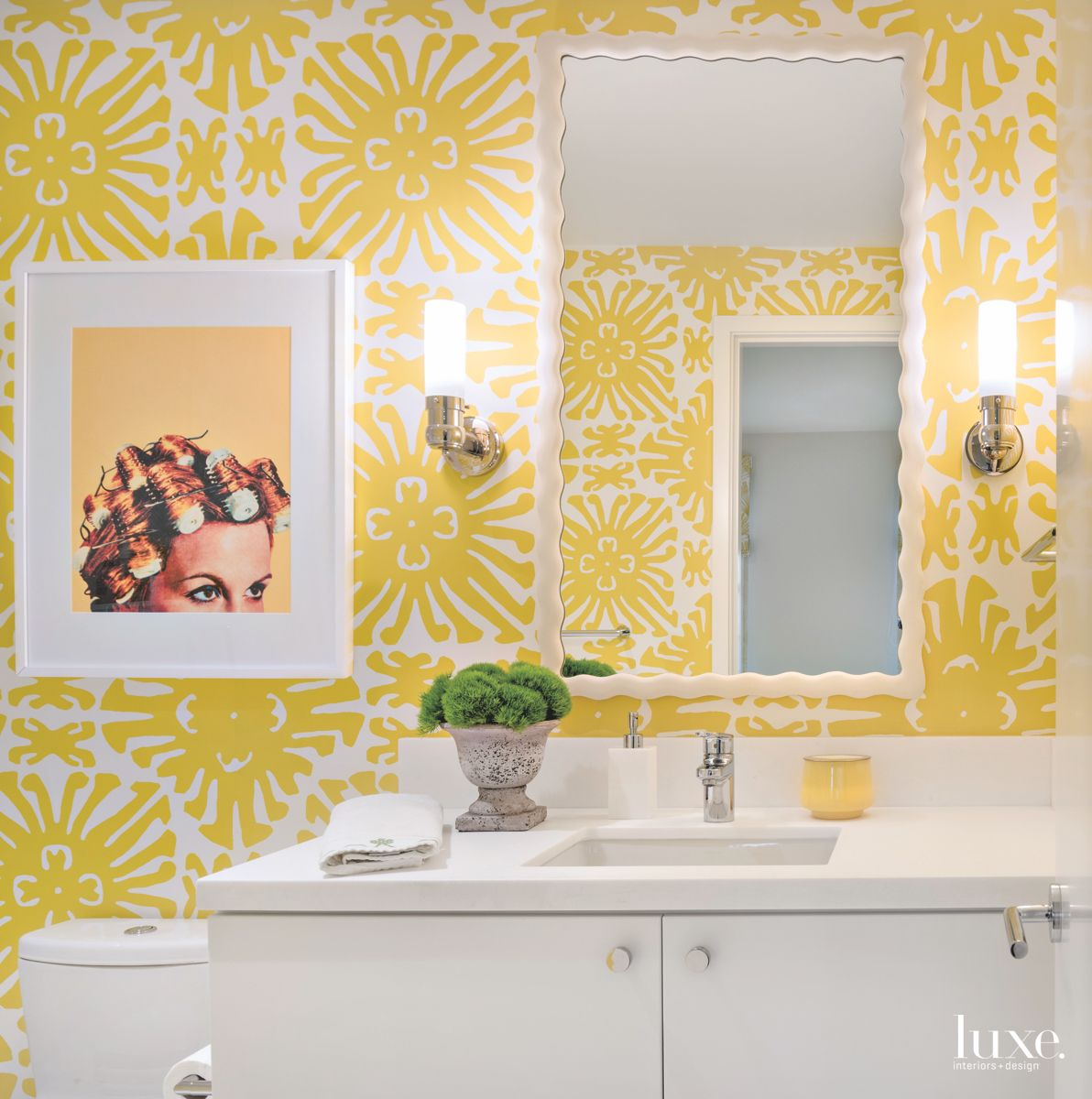 Yellow Flower Pattern Bathroom with Woman In Curlers Artwork and Mirror