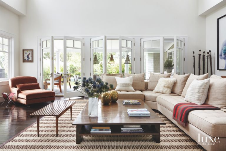 French Door Traditional Living Room With Sofa And Pendants Luxe