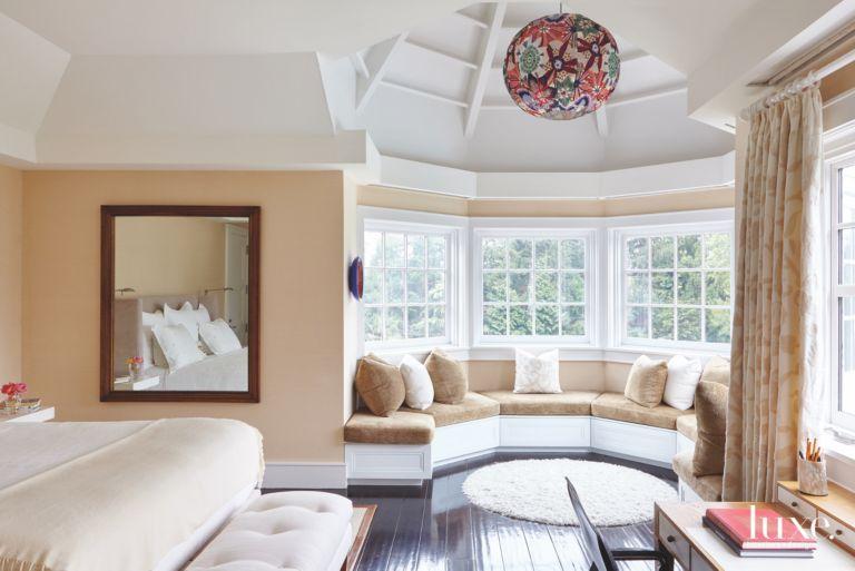 Bay Window Bench Child Bedroom With Spherical Chandelier Vaulted