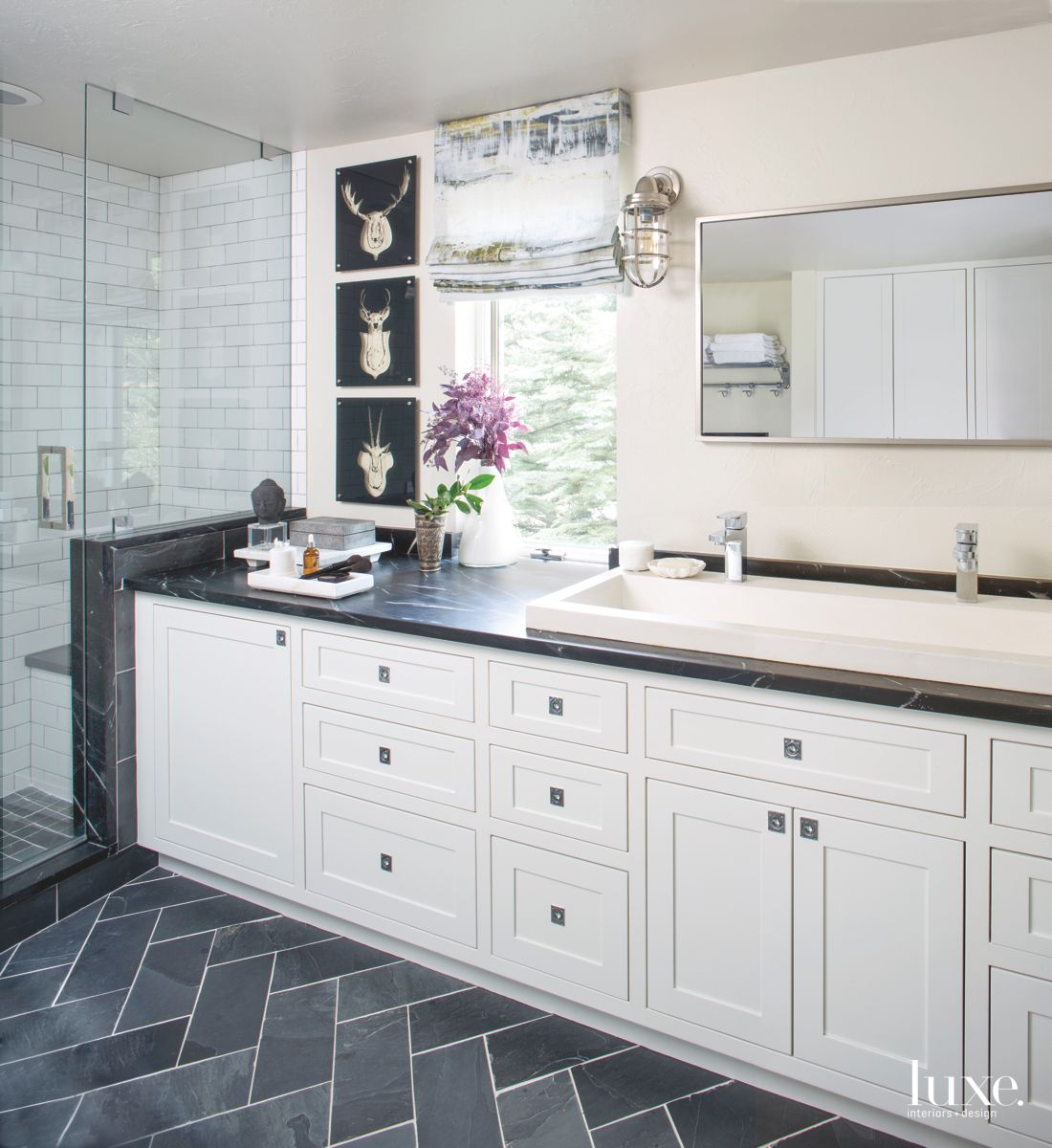 Clean Lines and Wild Animal Art Cut-Outs in the White Master Bathroom