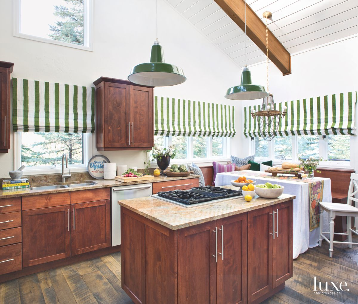 Green-Striped Enamel Shades Kitchen with French Midcentury Flair