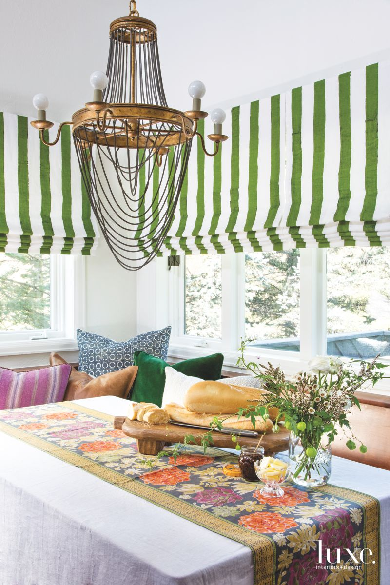 Green and White Roman Shades in the Breakfast Nook