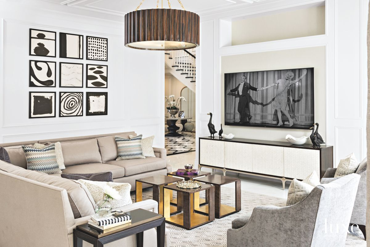 Black White Neutral Living Room with Television and Light Fixture