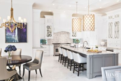 Scale Light Fixture Chandelier White Kitchen With Breakfast Area