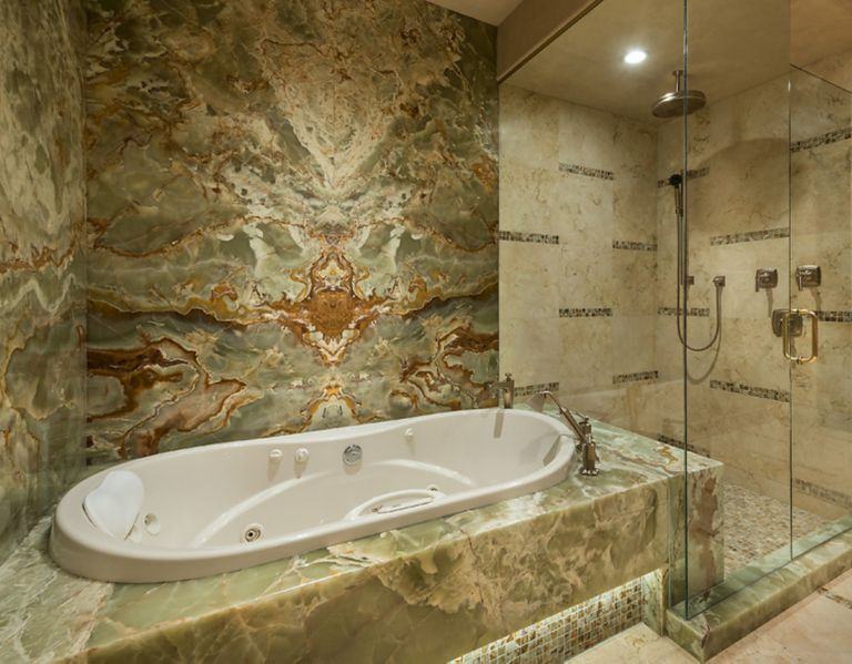 NOM_Green-Onyx-Bathroom-Tub-and-Shower - Luxe Interiors + Design