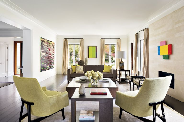 Transitional Neutral Living Room With Chartreuse Accents