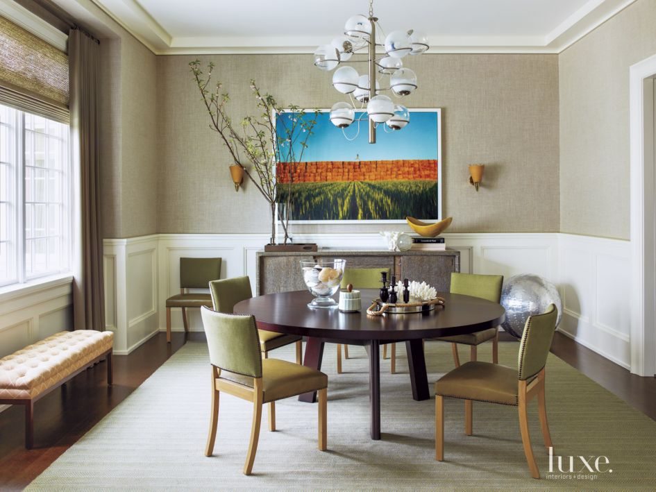 Contemporary Greige Dining Room with Linen Wallpaper - Luxe ...