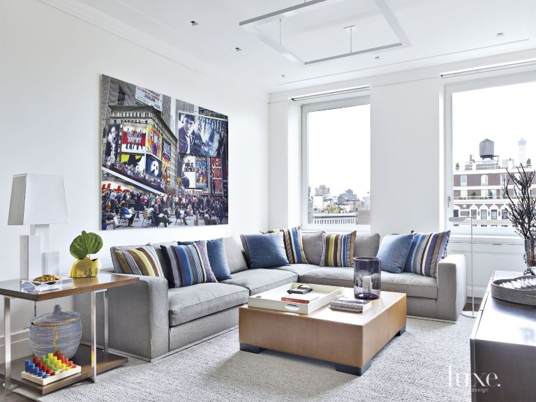 Modern Neutral Family Room With Gray Sectional