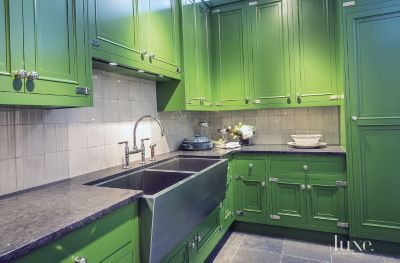 A Waterworks Designed Kitchen Utilizing Bright Colors.