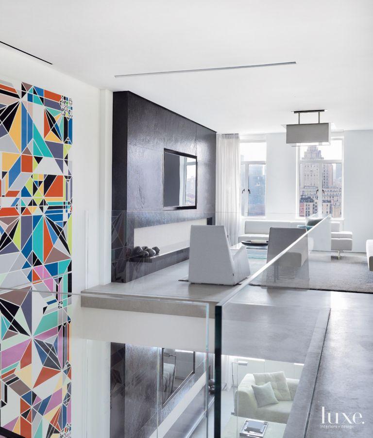 Modern White Living Room With Limestone Flooring
