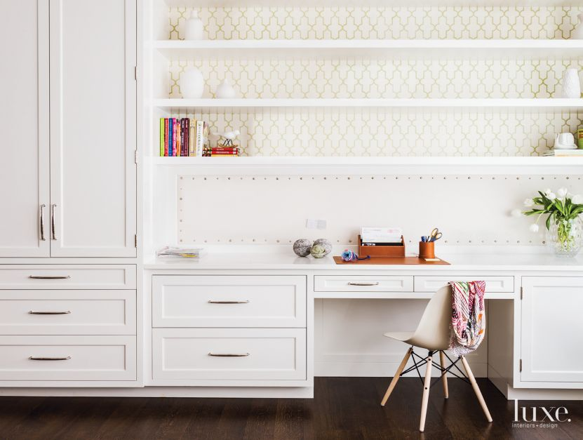 Contemporary white study with patterned wallpaper for Built in study table