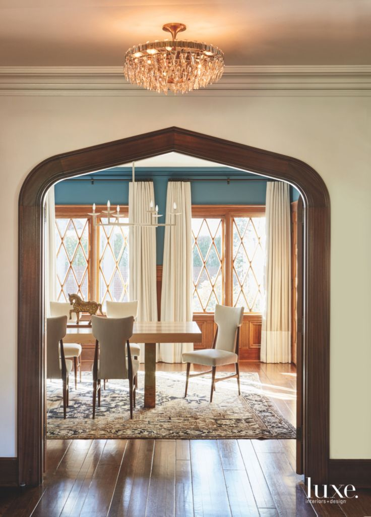 Framed Door Dining Hall Entrance With Criss Cross Windows Modern