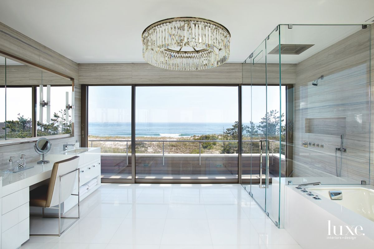 Ocean and Tree View Clear Glass Master Bathroom with Porch