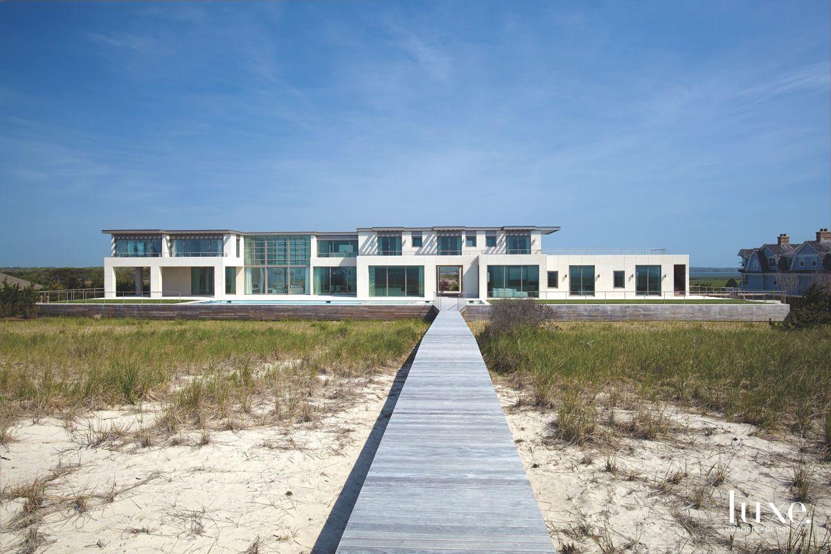 Walk to the Beach Boardwalk Quogue Home Geometric Exterior