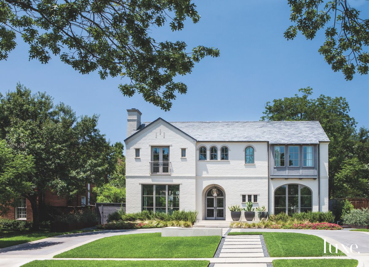 White Dallas Exterior with Large Custom Windows and Doors