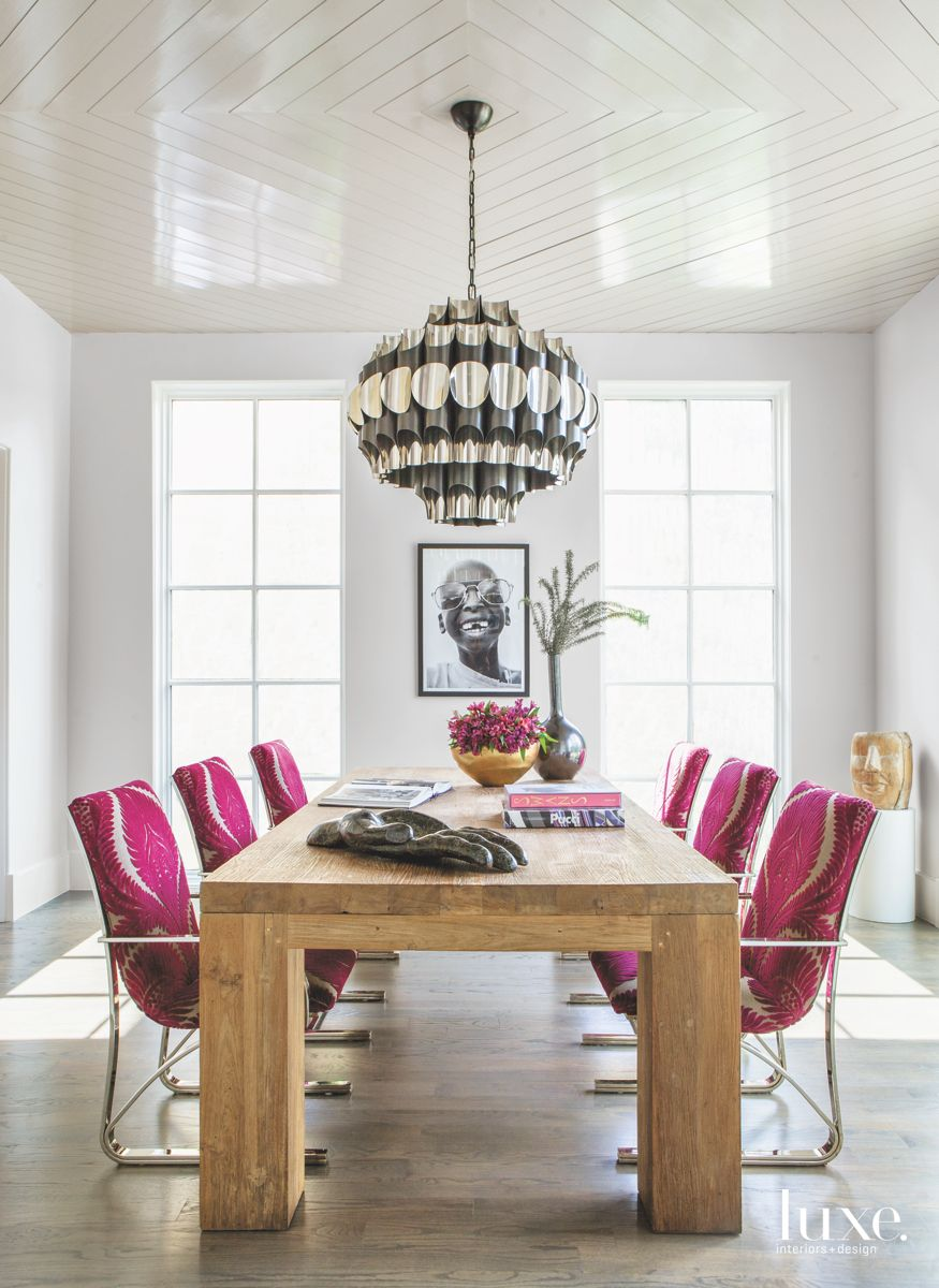 Fuschia Dining Room/Reading Room Chairs with Chandelier and Portrait