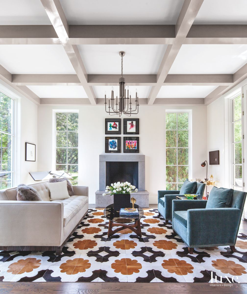Dramatic Flower Floor Tile and Fireplace