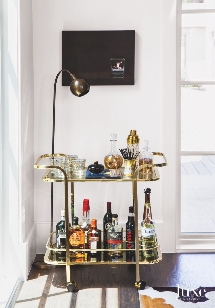 Gilded Art Deco Bar Cart with Cocktail Hour Accoutrements