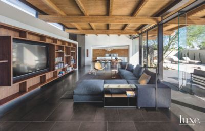 Coffered Ceiling Open Plan Living Dining Room With Television Shelving