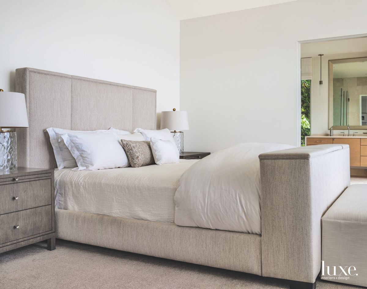Custom Gray Master Bed with Twin Lamps and Nightstands