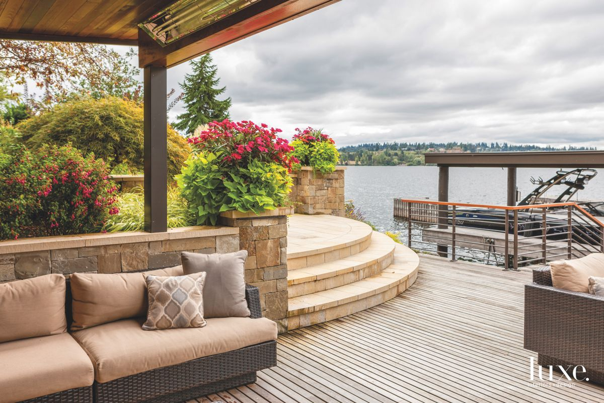 Curved Deck with Cloudy Lake Washington Views