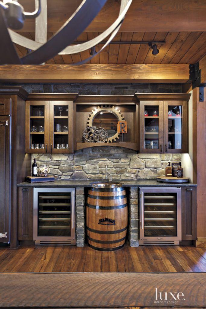 Neutral Mountain Bar Area with Barrel Sink - Luxe Interiors + Design