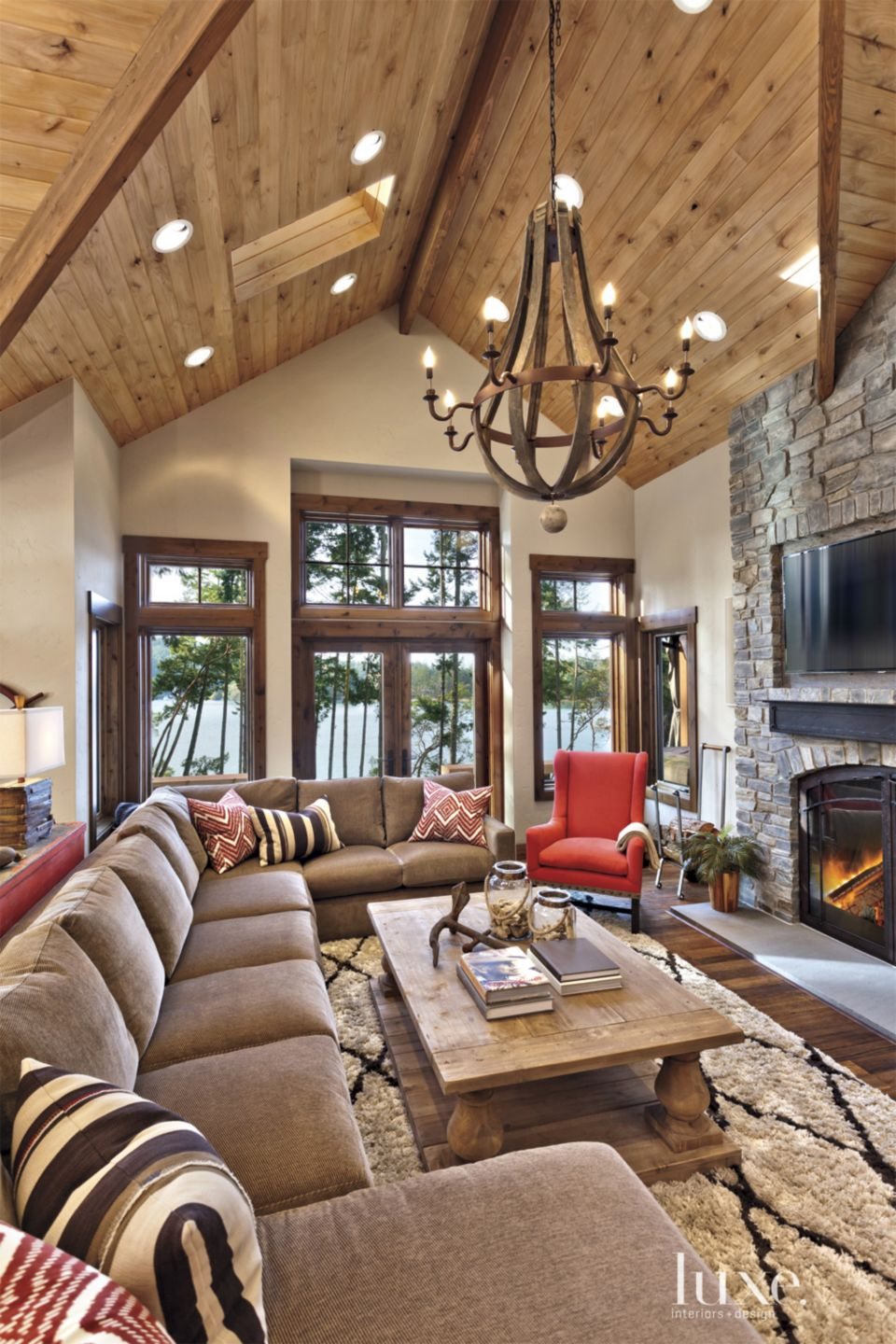 White Mountain Great Room with Wooden Chandelier