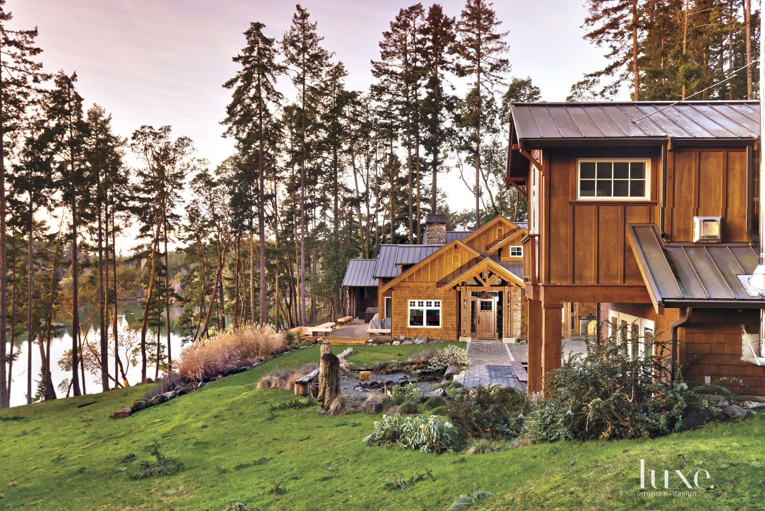 Neutral Mountain Front Elevation with Lakeview