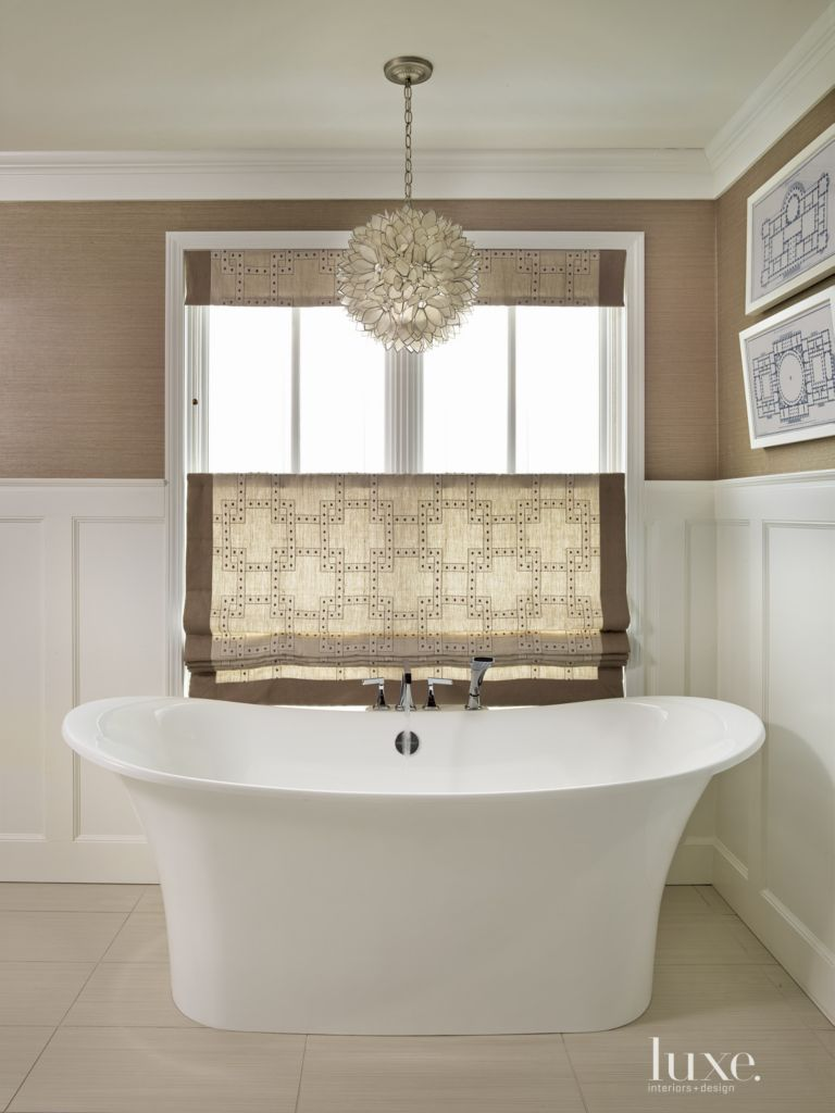 Contemporary Brown Bathroom with Wainscoting - Luxe Interiors + Design