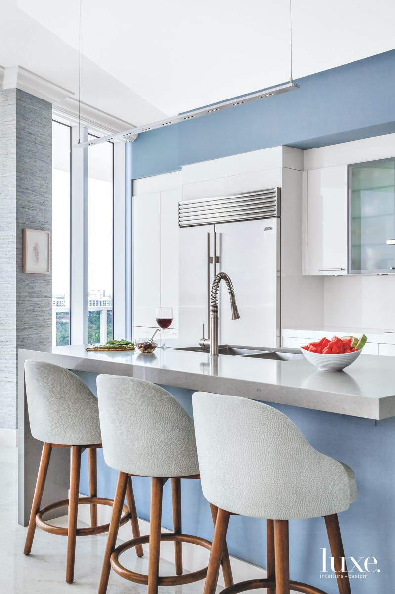Soft Blue Kitchen with Bar Stools and Floor to Ceiling Windows