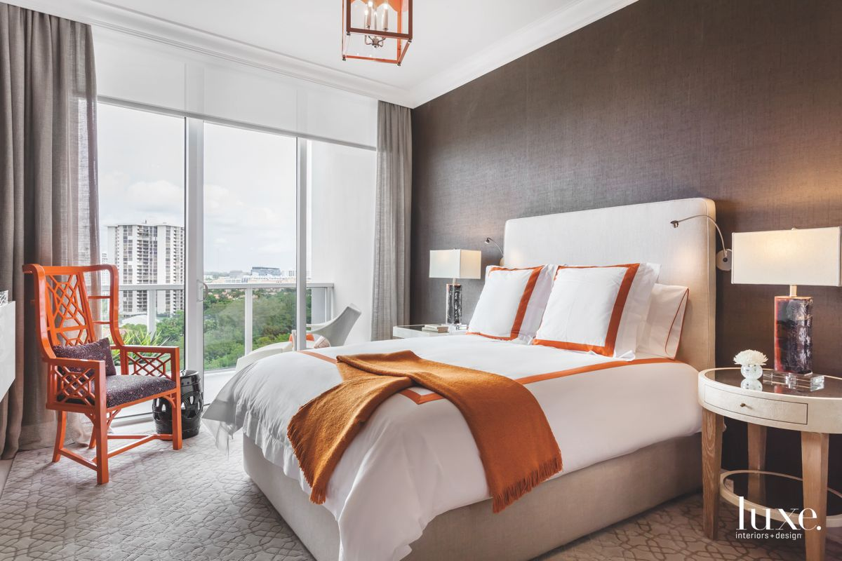 Brown and Orange Miami Master Bedroom with a View