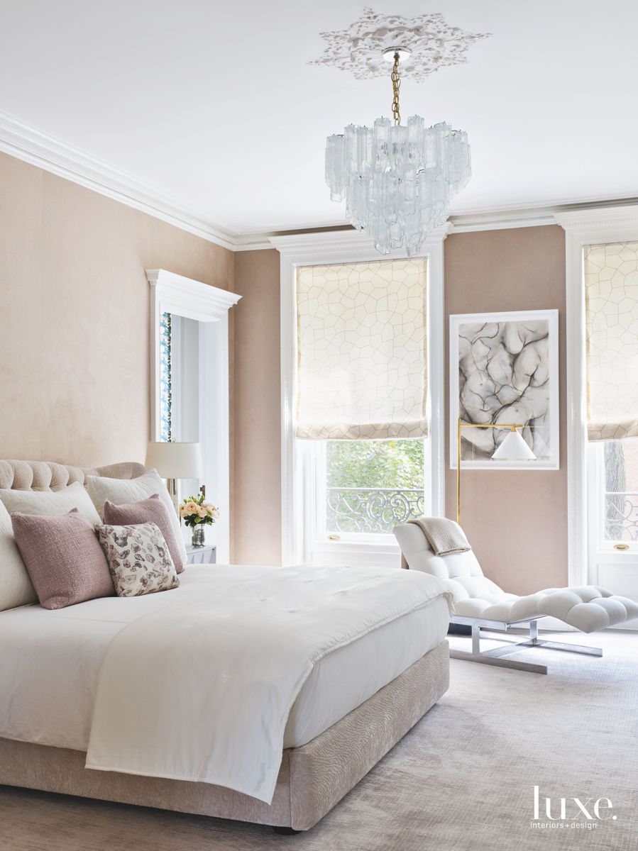 Beige Wall Master Bedroom with Doily Glass Chandelier and Chaise Lounge