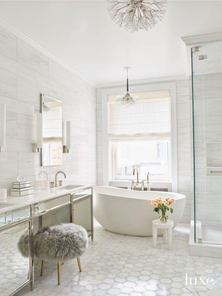 Hexagonal Tile Master Bathroom with Crystal Dandelion Chandelier and ...