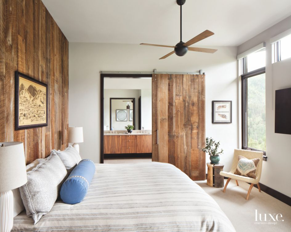 Outstanding Sliding Barn Door Master Bedroom With Artwork And Fan Luxe Home Remodeling Inspirations Cosmcuboardxyz