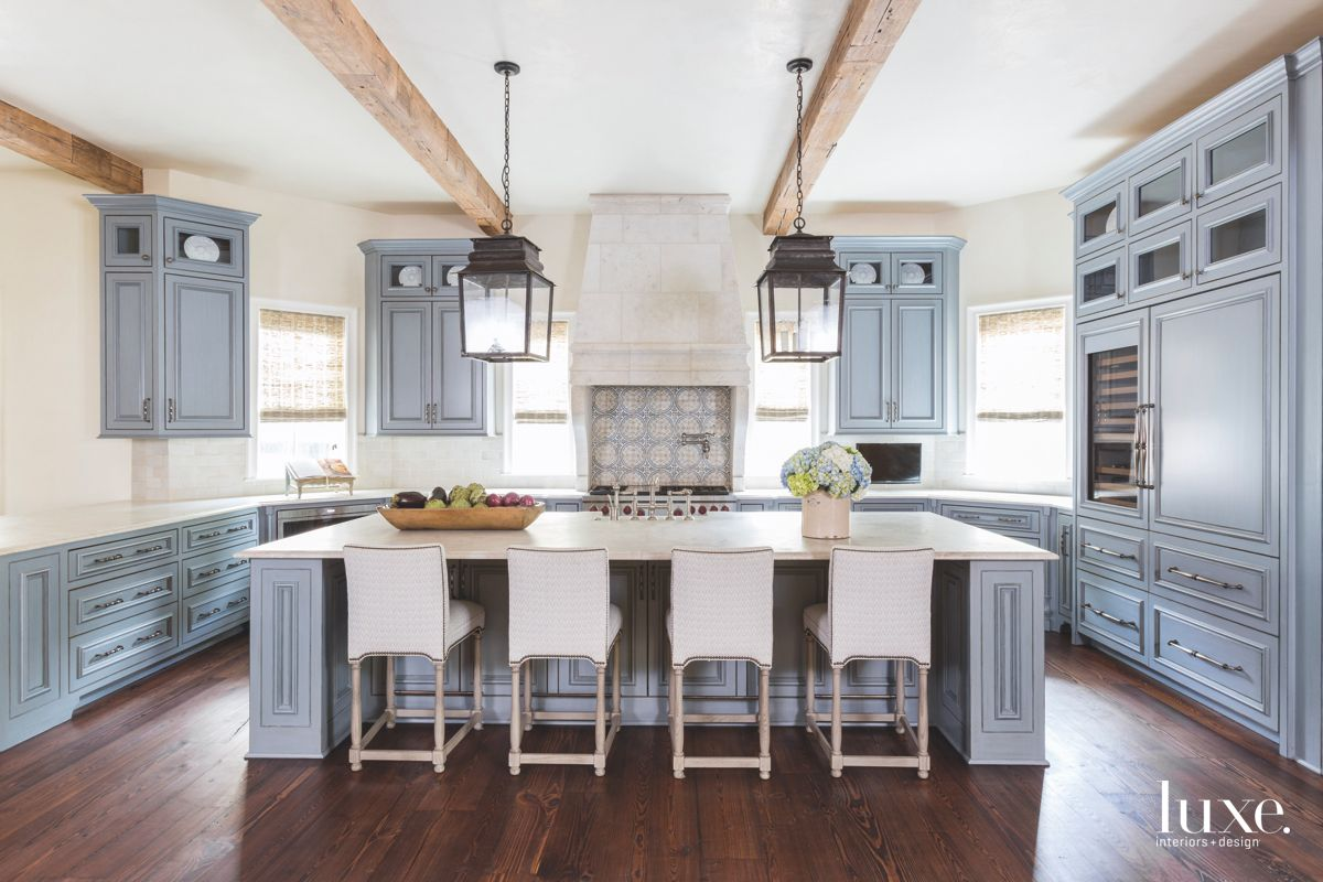 Blue Cabinet Kitchen with Lantern Lighting with Wine Rack