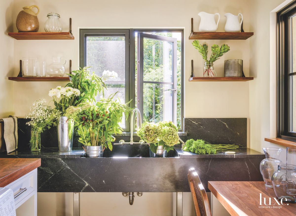 Soapstone Sink Overflowing with Plants
