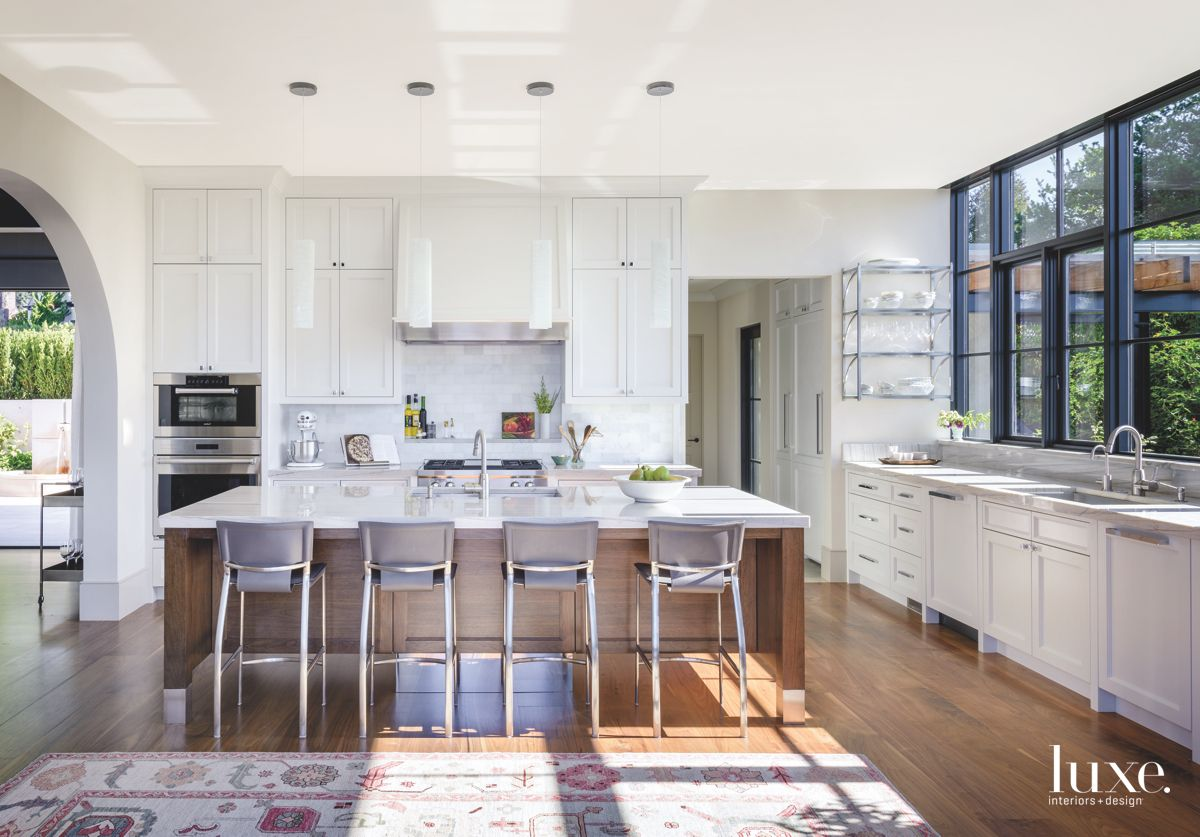 White and Wooded Contemporary Kitchen with Rug