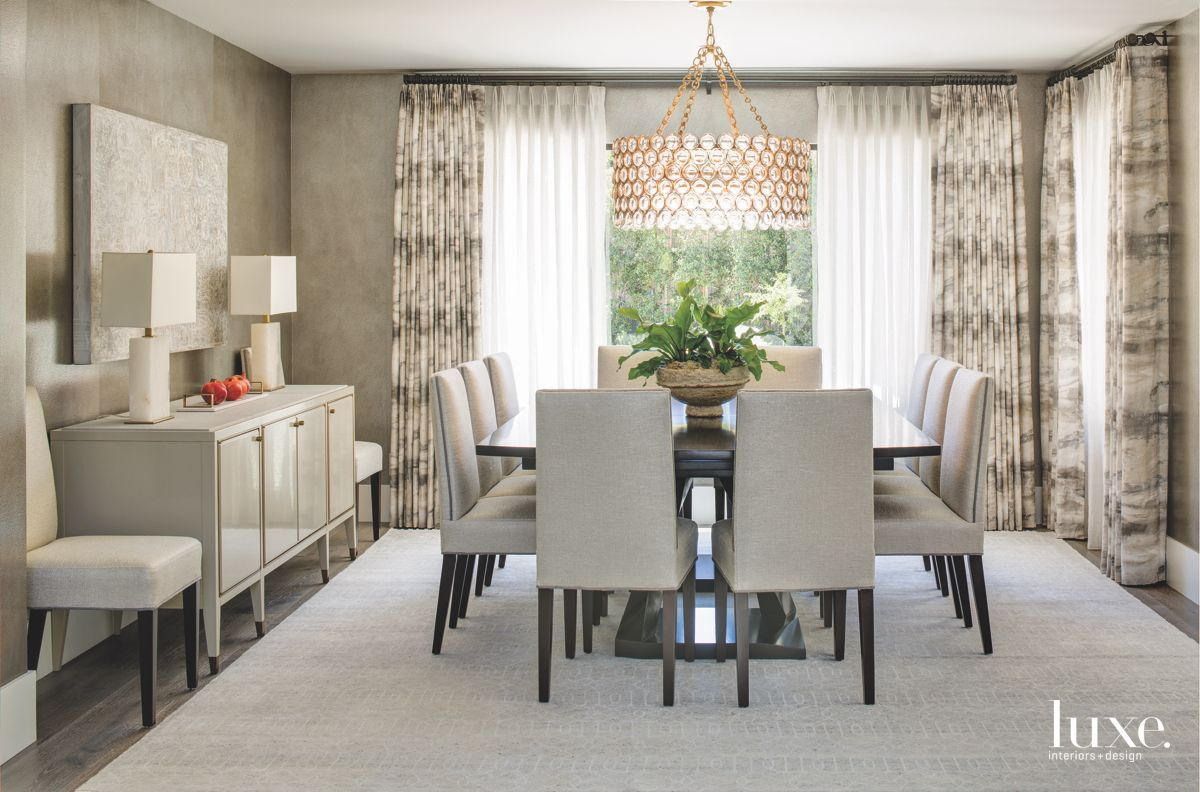 Spherical Rose Gold Chandelier Dining Room with Grayscale Color Palette and Curtains