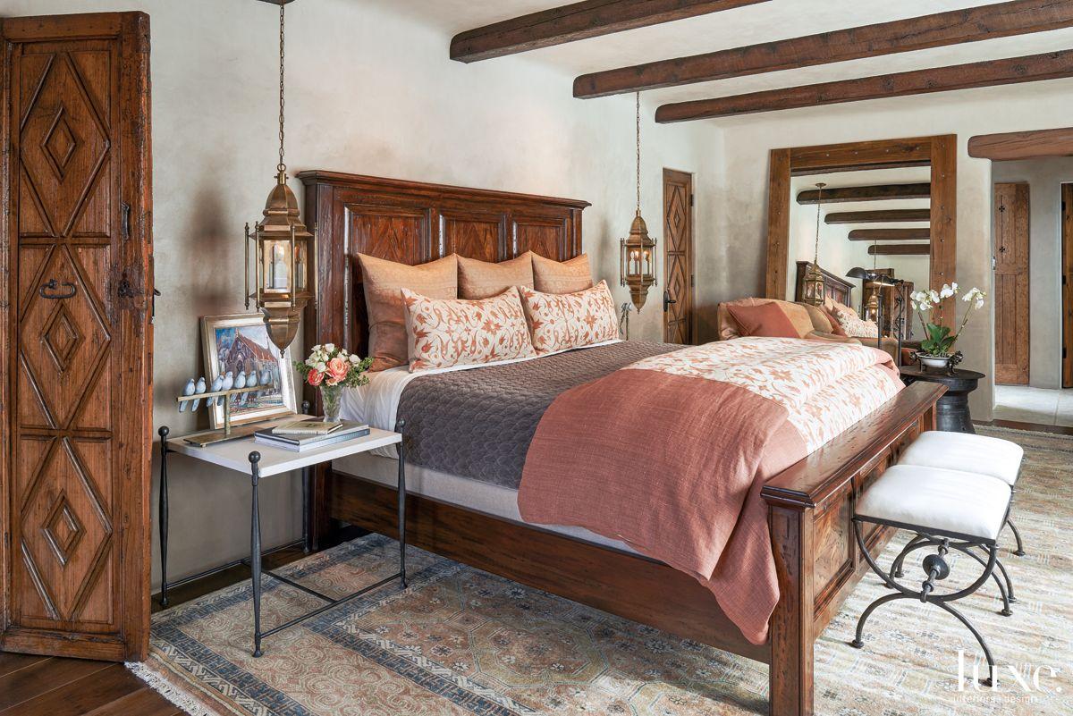 Mediterranean Neutral Bedroom with Moroccan Pendants