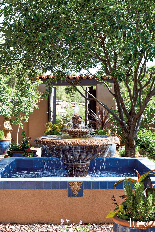 Mediterranean Neutral Fountain with Blue Tile