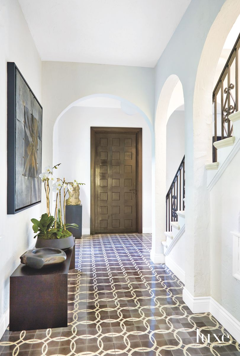 Custom Designed Front Entrance Wooden Door with Tiled Entryway