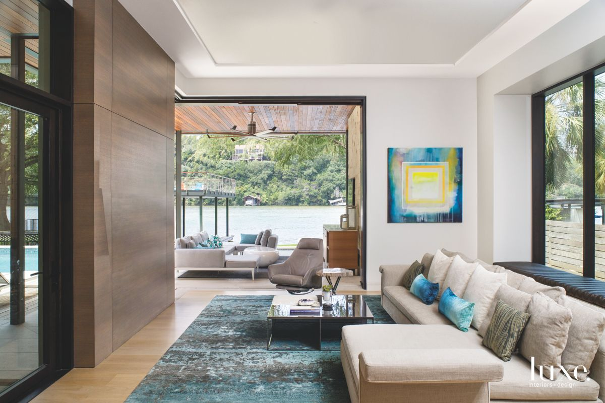 Neutral Living Room with A View of Lake Austin