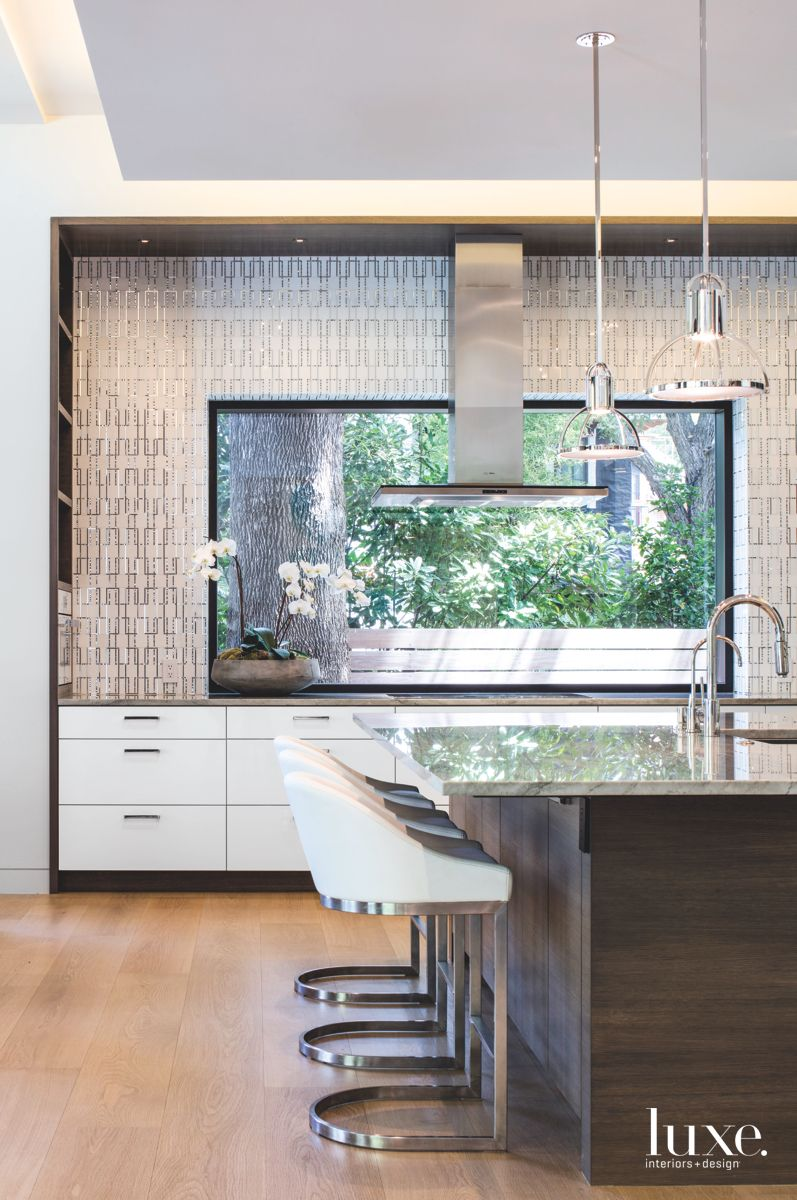 Unique Metallic Mosaic Tile in Modern Austin Kitchen