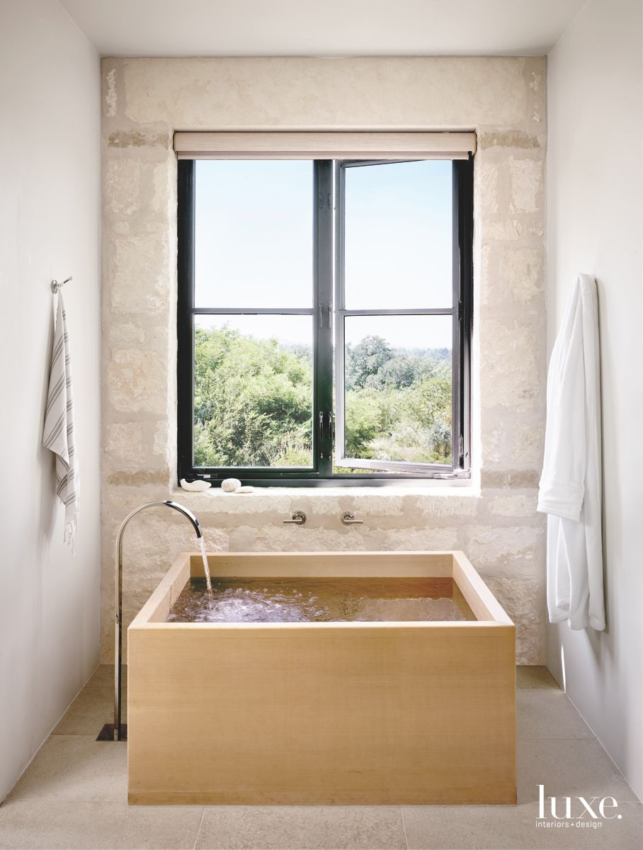 Wooden Soaking Tub with Landscape View