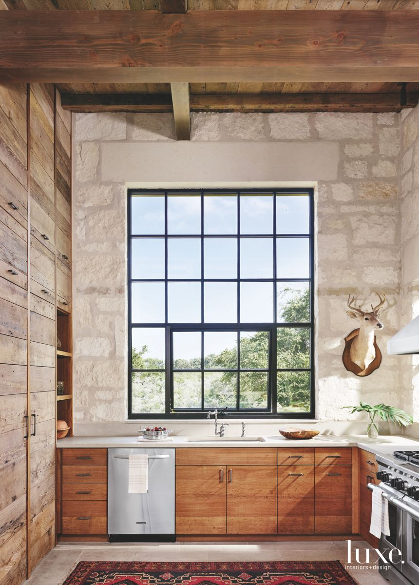 Deer Head Kitchen with Wooden Cabinets